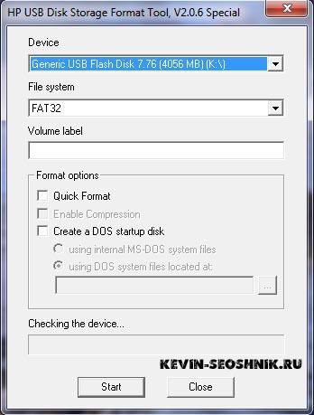форматирования с помощью программы HP USB Disk Storage Format Tool
