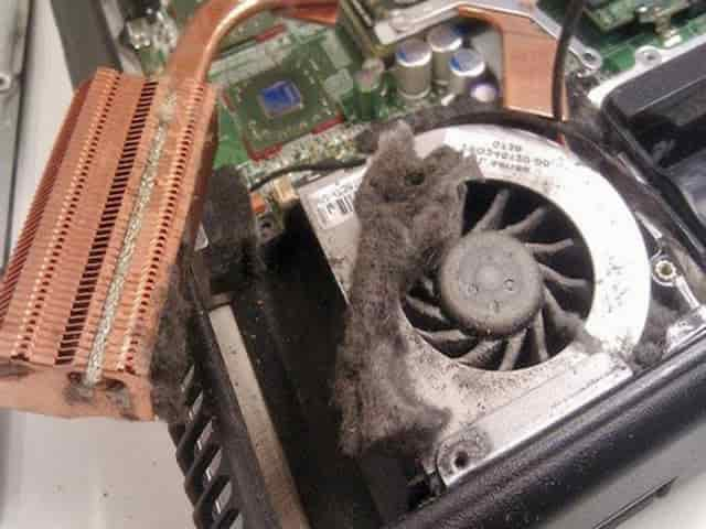 Кулер ноутбука забит пылью
