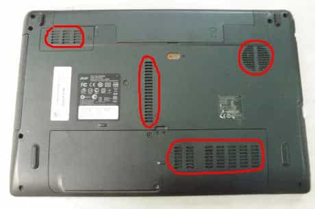 Вентиляционные отверстия ноутбука